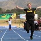 Prince Harry races ahead of Bolt at the Usain Bolt Track at the University of the West Indies in Kingston, Jamaica. Prince Harry was in Jamaica as part of a Diamond Jubilee Tour.