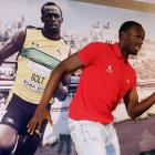 Bolt re-enacts a photo of himself at an IAAF Golden Gala press conference in Rome.