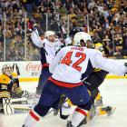 It was fitting that perhaps the closest playoff series in NHL history — all seven games were decided by one goal — ended in OT. Matt Hendricks and Joel Ward, two forwards who combined for all of 10 goals in 151 regular-season games, were all the offense Washington needed as rookie goalie Braden Holtby came through in a thrilling 2-1 win at TD Garden that ended Boston's defense of the Stanley Cup. It was a remarkable outcome given that few people thought the Capitals had much of a chance after their up-and-down season that saw coach Bruce Boudreau replaced by Dale Hunter in November.