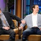 "Channing Tatum and Drew Brees laugh during an interview on ""The Tonight Show with Jay Leno."""