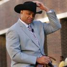 Charles Barkley rides onto the set in Thunder Alley on a horse before Game 5 of the 2012 Western Conference Finals between the San Antonio Spurs and the Oklahoma City Thunder.