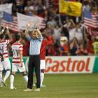 USA players and Klinsmann acknowledge the fans after a 2014 FIFA World Cup qualifying win over Guatemala in Kansas City, Kan. Klinsmann hoped to implement an offensive, passing-based mentality to the American side.