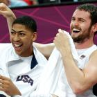 Love shares a laugh with Anthony Davis during the 2012 Summer Olympics.