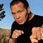 Ali poses with an extended punch in a 2012 photo shoot at his home in Paradise Valley, Ariz., to mark his 70th birthday.