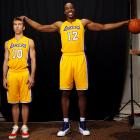 Dwight Howard has some fun with Nash during this SI photo shoot, prior to both players' first season with the Los Angeles Lakers.