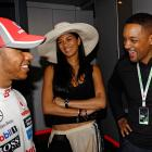 Lewis Hamilton and his girlfriend Nicole Scherzinger share a laugh with Will Smith in the McLaren garage before qualifying for the Monaco Formula One Grand Prix at the Circuit de Monaco in Monte Carlo.