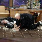 """Bradshaw had a cake fight with Jay Leno to celebrate the former Steeler's 50th appearance on """"The Tonight Show."""" Without an offensive line to protect him, Bradshaw was sacked by Leno on national television."""