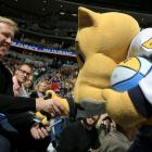 with Denver Nuggets mascot, Rocky