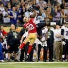 Baltimore Ravens wide receiver Anquan Boldin makes a back-shoulder catch against San Francisco 49ers cornerback Carlos Rogers. Boldin caught six passses for 104 yards and a touchdown in the Ravens' 34-31 win.