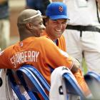 Darryl Strawberry and Mike Piazza share a laugh during the 2013 All-Star Legends & Celebrity Softball game at Citi Field.