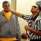Will Smith poses as a blind referee alongside Metta World Peace during the filming of the ''Jimmy Kimmel Live: Game Night'' Primetime Special in Hollywood.