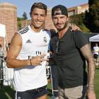 Cristiano Ronaldo and former player David Beckham pose after a training session at UCLA Campus in Los Angeles.