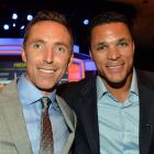Nash poses with recently retired NFL tight end Tony Gonzalez at the 2014 Sports Spectacular Gala.