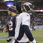 """The chant began midway through the fourth quarter of this matchup between the all-time great quarterbacks long ago decided: """"Brady's Better."""" In his 200th career start, Tom Brady passed for 333 yards and four touchdowns. Peyton Manning took the loss even though he threw for 438 yards and two touchdowns. (Brady 11, Manning 5)"""