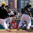 Carlos Gomez's penchant for admiring his home runs has been known to rub opponents the wrong way. The Pirates took umbrage at his reaction to a ball that the Brewers centerfielder thought he had hit out, but did not, and his response triggered a bench-clearing brawl. Gomez threw punches at Pittsburgh's Travis Snider, then sparred with Russell Martin; both Pirates had come off the bench to join the scrum. Gomez broke away and then Snider pushed him down before being tackled by Rickie Weeks and punched by Martin Maldonado. After a delay of several minutes, Gomez, Snider and Brewers bench coach Jerry Narron were all ejected, while Cole remained in the game.