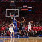 "Clippers point guard Chris Paul delivered a driving bank shot over 6' 11"" Tim Duncan to KO the defending champion Spurs 111-109 in Game 7 of their first-round playoff series. The teams traded the lead 31 time, and neither held an advantage of more than three points over the final 5:26. Paul, who strained his left hamstring in the first quarter and missed more than seven minutes to receive treatment, hobbled to a team-high 27 points—the last two on this improbable heave off his injured leg with one second left."