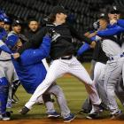 Tempers flared when Yordano Ventura fielded a ground ball from Adam Eaton in the bottom of the seventh inning and appeared to mouth profanities at him as Eaton jogged down the first base line. Later on in the ensuing scrum, Lorenzo Cain and Jeff Samardzija fought. Both players were ejected, as were Ventura, the Royals' Edinson Volquez and White Sox pitcher Chris Sale, who was repeatedly restrained by both Royals staff members and his own teammates. The A's and Royals were involved in a benches-clearing altercation of their own on April 17 after Oakland's Brett Lawrie slid hard into Royals second baseman Alcides Escobar, which led to several plunkings and two more bench-clearings in the final two games of the weekend series.