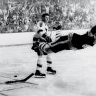 Stanley Cup finals Game 4, May 10, 1970 | Boston Bruins defenseman Bobby Orr celebrates his Cup-winning goal during overtime of Game 4 of the Stanley Cup finals against the St. Louis Blues. Orr would win MVP honors, and the victory was Boston's first Cup in 29 years.