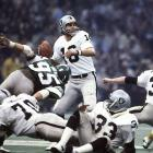 Super Bowl MVP Jim Plunkett looks to pass against the Philadelphia Eagles. Plunkett threw for 261 yards on 13-of-21 passing with three touchdowns to guide the Oakland Raiders to a 27-10 victory.