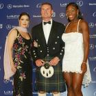Pictured with Laura Harring and David Coulthard, Serena helped present the 2003 Comeback of the Year Award to soccer phenom Ronaldo at the Laureus World Sports awards.