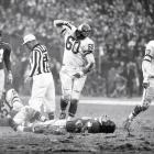 Eagles at Giants, Nov. 20, 1960 | Philadelphia Eagles linebacker Chuck Bednarik celebrates after laying out New York Giants running back Frank Gifford at Yankee Stadium. The hit forced Gifford to temporarily retire from football.