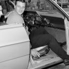 Yankee outfielder Roger Maris sitting in his car after he injured his leg making a tough catch against the Kansas City Athletics on April 28, 1965.