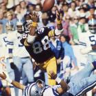 Super Bowl X, Jan. 18, 1976 | Steelers WR Lynn Swann makes an acrobatic catch over Cowboys defender Mark Washington. Swann became the first receiver to win Super Bowl MVP honors after catching four passes for 161 yards and a touchdown during a 21-17 Pittsburgh victory.