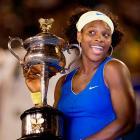 Serena kids around after winning a title in Melbourne.