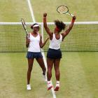 Serena and Venus celebrate after defeating Andrea Hlavackova and Lucie Hradecka of Czech Republic in the doubles gold medal match at the London Olympic Games.