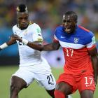 Jozy Altidore suffered a left hamstring injury when he tried to control a long ball in the 21st minute against Ghana. He missed the next two games.