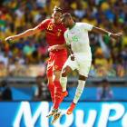 Daniel Van Buyten of Belgium and El Arbi Hillel Soundani of Algeria battle to win a header during their opening match of the World Cup 2014.