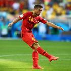 Dries Mertens of Belgium scores the winning goal of the Group H match between Belgium and Algeria putting Belgium ahead 2-1.