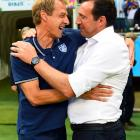 Head coaches Jurgen Klinsmann and Belgium's Marc Wilmots greet each other before kickoff.