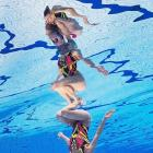 Lolita Anasova and Anna Voloshyna of Ukraine perform during the Duet Free Synchronized Swimming Final.