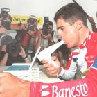 Four-time winner of the Tour de France Miguel Indurain of Spain takes a lung-capacity check-up in Saint-Brieuc, France prior to the start of the 1995 edition of the race.