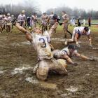 NAIA College Football Championship, Dec. 19, 2007 | Carroll College linebacker Brandon Day slides in the mud after Carroll College's 17-9 victory over the University of Sioux Falls for the NAIA college football championship. Since 2002, Carroll College has won six NAIA championships, including one in 2010.