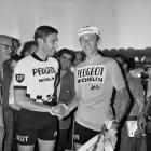Roger Pingeon, French racing cyclist and winner of the Tour de France 1967 (right), shaking hands of Eddy Merckx (left), Belgian racing cyclist.