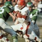 Cleveland, Nov. 29, 1964 | Browns running back Jim Brown weaves his way through the Philadelphia defense during the 1964 season.