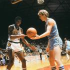 Salt Lake City, March 26, 1979 | Future NBA Hall of Famers Earvin Johnson and Larry Bird try to figure something out during the 1979 Championship game between Michigan State and Indiana State.