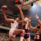 Julius Erving soars and stretches for what would become an iconic reverse layup in Game 4. The Sixers tied the series with a 105-102 win at home.