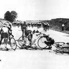 While the speeds of the crashes were slower half a century ago – this pileup took place on the road to Metz, during the fourth stage of the 1955 Tour – the thoughts of the riders looking back at their bloodied brethren are probably the same: Better you than me.