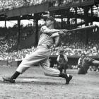 Yankees at Senators, June 29, 1941 | Yankee great Joe DiMaggio takes a hack against the Washington Senators during his 1941 AL MVP season. He hit .357 with 30 home runs and 125 RBI during the year.