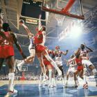 Bill Walton of the Trail Blazers contests a shot by Doug Collins of the 76ers. Walton galvanized the Blazers, who won the series in six games behind his Finals MVP-winning 18.5 points and 19.0 rebounds per game.