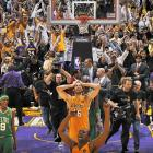 Celtics at Lakers, Game 7 of NBA Finals, 2010 | Pau Gasol celebrates the Lakers' memorable Game 7 victory over their long-time rivals in front of the home crowd.