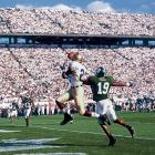Notre Dame at Michigan St., Sept. 21, 2002 | Notre Dame wide receiver Maurice Stovall catches a touchdown during his team's 21-17 victory over the Spartans.
