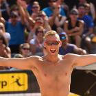 Casey Patterson celebrates a win in the semis.