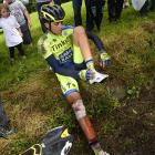 It's a measure of Contador's toughness that, after crashing heavily on Monday, then replacing his destroyed left shoe, he remounted and rode another 20 kilometers with a fractured right tibia, before finally, tearfully pulling the plug.