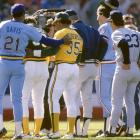 Buddy Bell, Alvin Davis, Rickey Henderson, Don Mattingly and others pose during the starting lineups.