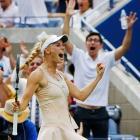 Caroline Wozniacki celebrates after winning a point against Maria Sharapova during the fourth round on Aug. 31.  Wozniacki, seeded 10th, defeated the fifth-seeded Sharapova, 6-4, 2-6, 6-2.