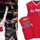 """Clippers big man Chris Kaman has had his name misspelled twice, and not in the same way. First he was forced to wear a jersey with an extra """"M"""" in Dec. 2003, and then the NBA tried selling his No. 35 jersey with an """"E"""" in place of the second """"A."""" (The league corrected its mistake). Dude can't catch a break."""